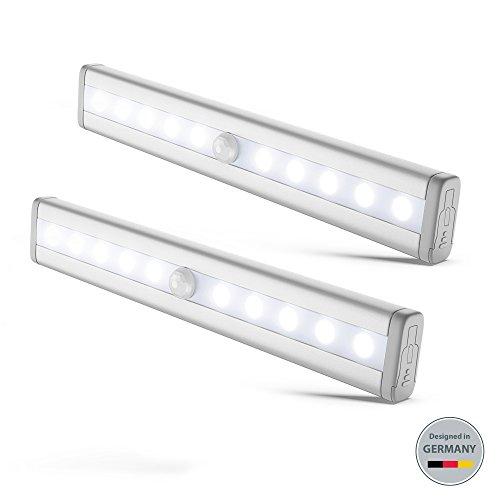B.K.Licht 2x LED Schrankbeleuchtung | Bewegungsmelder | Schranklicht | Wandlicht | Vitrinenbeleuchtung | Nachtlicht mit Bewegungsmelder | 2er Set