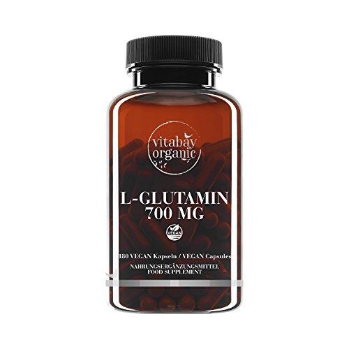 L-Glutamin 700 mg - 180 vegane Kapseln - freie Form, Reinsubstanz frei von Hilfs und Zusatzstoffen, vegan