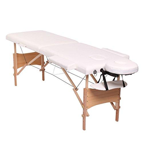 dibea MT00561, Mobile 2-Zonen Massagebank, Holzgestell (klappbar), höhenverstellbar, weiss