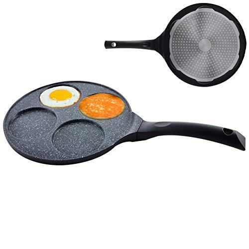 ORION Augenpfanne Spiegelei-Pfanne für 4 Eier Crepepfanne für Gas Induktion Antihaftbeschichtete Ø 27 cm GRANDE