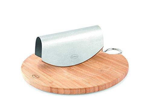 Rösle 15021 Einhand-Wiegemesser mit Bambusbrett Durchmesser24,5cm, Edelstahl, 28 x 26 x 5 cm, 2 Einheiten