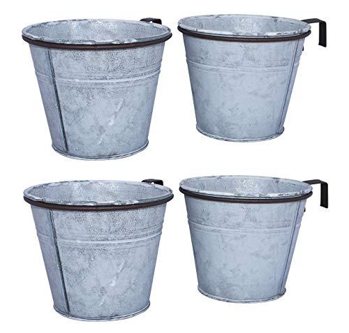 ARTECSIS 4er Set Pflanztopf mit Ringhalter, verzinkter Hängetopf, Blumentopf für Balkon Garten Geländer Palette 15 Ø