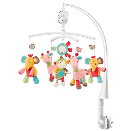 Fehn 074291 Musik-Mobile Safari / Spieluhr-Mobile mit bunten Safari-Tieren zum Lauschen & Staunen / Zum Befestigen am Bett für Babys von 0-5 Monaten / Höhe: 65 cm, ø 40 cm