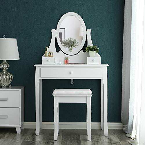 SONGMICS Schminktisch Frisierkommode Frisiertisch Kosmetiktisch mit Spiegel inkl. Hocker, Weiß, Holz, RDT002