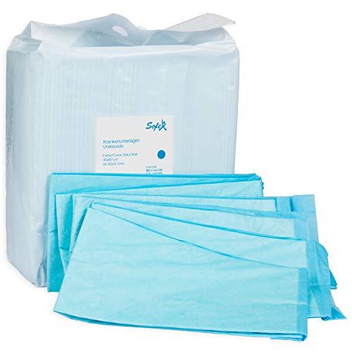 Krankenunterlagen 50 Stück 40x60cm 6-lagig blau, Einwegunterlagen, Einmalunterlagen, Inkontinenzunterlagen, Hygieneunterlagen