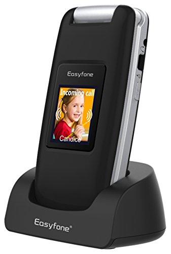 3G Seniorenhandy ohne vertrag, Easyfone Prime A1 3G Großtasten-Klapphandy mit Tischladestation (SOS-Taste, 2,4Inch-LCD, 2.0 MP, Hörgeräte kompatibel(HAC), FM Radio) (Schwarz)