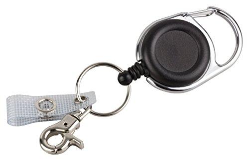 Schlüssel JoJo | Ausweis JoJo mit extra starker Feder und reißfester Schnur von BE-HOLD bietet mit Gürtelclip, Schlüsselring und textilverstärkter Lasche vielfältige Möglichkeiten zur Befestigung