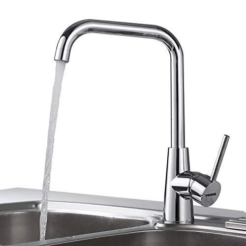 WOOHSE Wasserhahn Küche 360° Drehbar Hochdruck Küchenarmatur Armatur Bad Einhebel Mischbatterie Einhand-Spültischbatterie Spültischarmatur Einhebelmischer aus Messing Verchromt