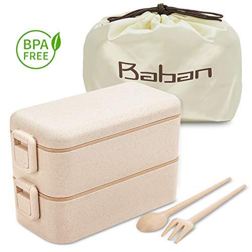 Baban Lunchbox, zweifach versiegelte Brotdose mit Gabel, Löffel und Tasche, geeignet für Schule, Büro, Picknick, aus Weizenstroh, einsetzbar in Mikrowelle, Geschirrspüler, abbaubar, BPAfrei