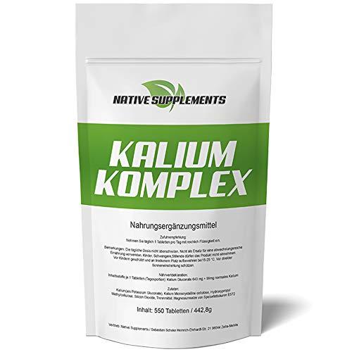 Kalium Komplex, 550 Tabletten, Potassium - Calium - Gluconat, Für Vegetarier & Veganer geeignet, Hochdosiert 643mg + 99mg pro Tablette