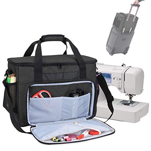 Teamoy Nähmaschinentasche, L42 x B21,6 x H31,7 cm stabile Transport und Aufbewahrungs Tasche für die meisten gängigen Haushaltsnähmaschinen und Nähmaschine Zubehör, Schwarz