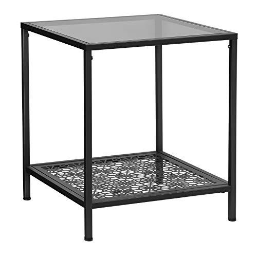 SONGMICS Glas-Beistelltisch mit Blumenverzierung, Couchtisch, Sofatisch, Glastisch mit Ablage, robustes Hartglas, stabil, dekorativ, Wohnzimmer, Schlafzimmer, Balkon, Metall, schwarz LGT01BK