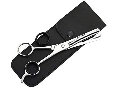 PREMIUM Effilierschere Haarschere mit Etui - Friseurschere zum ausdünnen der Haare - Ausdünnschere für jedes Haar 2-Seitig gezahnt aus Edelstahl 6 Zoll