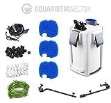 Aquarium Außenfilter HW-704B 45W 2000 L/h bis 1000l Becken +Filtermaterial +UVC