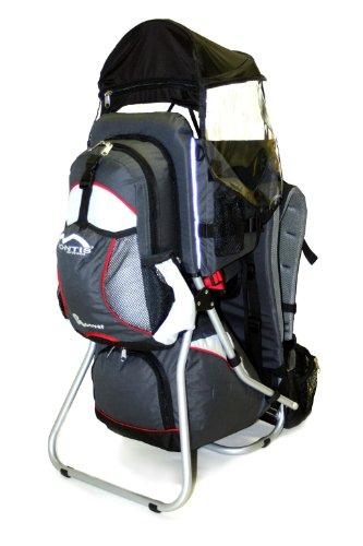 MONTIS HOOVER - Rückentrage Kinder - Wandertrage-Rucksack-System mit einstellbarem Sitz, stabilem Tragesitz, grau
