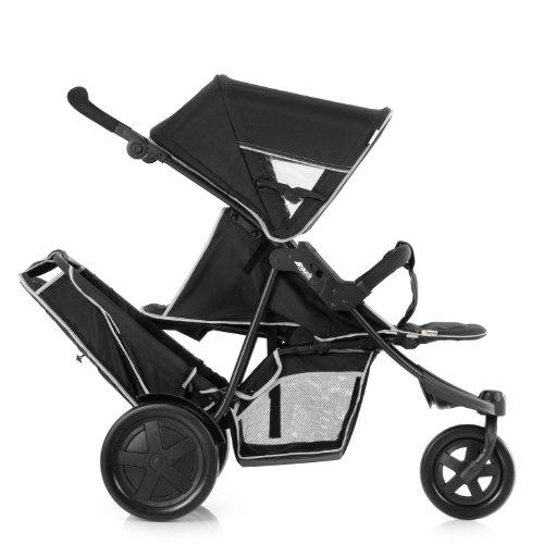 Hauck Freerider Geschwisterkinderwagen, mit abnehmbarem Zweitsitz, für ein oder zwei Kinder, Tandem, hintereinander, ab Geburt nutzbar (mit Tragetasche), bis 30 kg, schmal, inkl. Regenverdeck, schwarz