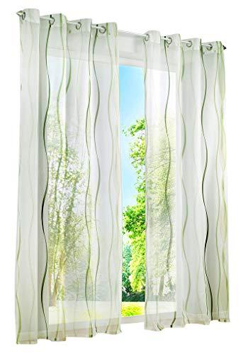 BAILEY JO 1er-Pack Gardinen mit Wellen Druck Design Vorhang Transparent Voile Vorhänge (BxH 140x145cm, grün mit Ösen)