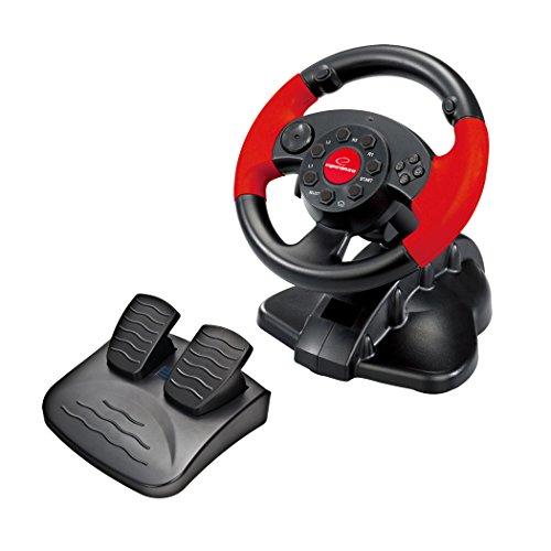 Esperanza EG103 'HIGH OCTANE' Gaming Lenkrad, Gas/Bremspedal für Playstation 2/3 und PC mit Vibration/13 Action-Tasten schwarz