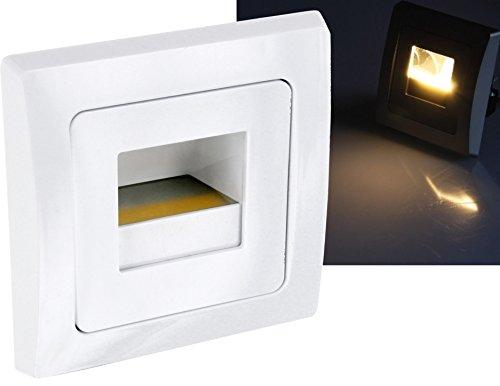 LED COB Wandeinbauleuchte 230V warmweiß - passend in 60er Schalterdosen - 1,5W 110lm - Einbauspot Stufenlicht Treppenlicht (weiß)