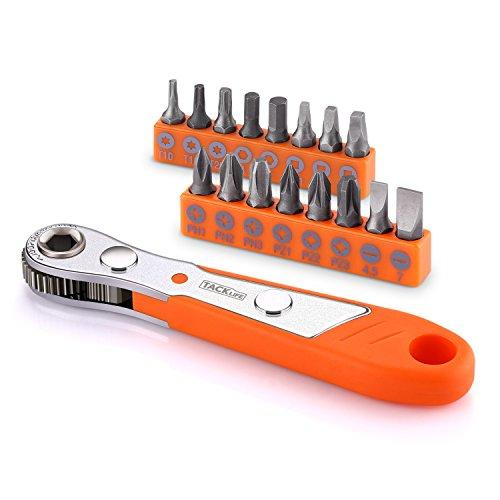 17-tlg. Ratschenschlüssel, Tacklife HRSB1A Mini Schraubenschlüssel Bit-Set, Pocket Größe, mit Knarre, 1/4' magnetischer Bithalter, Rechte Winkel Ratschenschrauber Schraubendreher