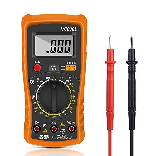 Digital Multimeter, Multimeter Messgeräte Digitales Voltmeter Amperemeter Ohmmeter, Multimeter Voltmeter Spannungsmesser Stromprüfer Widerstand Elektronisches Messgerät mit LCD-Anzeige (Yellow)
