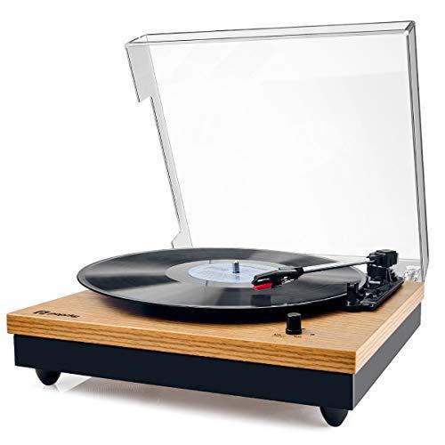 Vinyl Plattenspieler,Popsky Bluetooth tragbaren Vinyl Plattenspieler Turntable und Digital Encoder mit Lautsprecher Riemenantrieb Aux-In RCA 33/45/78 U/min - natürliches Holz