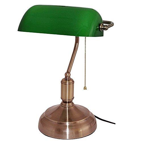 Bankierslampe–grünes Opalglas - 37 CM - Zugkette
