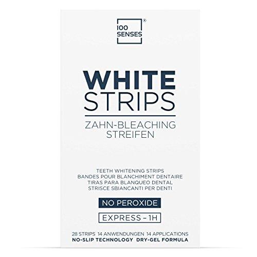 100SENSES White Strips für weiße Zähne 28 Stück I White Stripes I Bleaching Strips zur Zahnaufhellung in 14 Tagen I Whitening Bleaching Streifen mit No-Slip Technologie für besseren Halt
