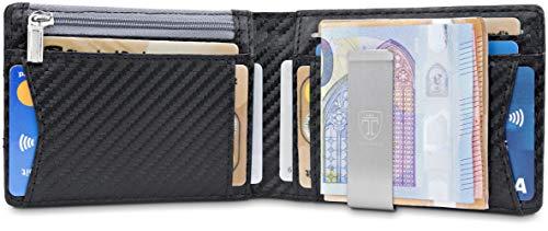 TRAVANDO Geldbeutel Männer mit Geldklammer Amsterdam Slim Portemonnaie Wallet Portmonaise Herren Geldbörse Geldtasche klein Portmonee RFID Schutz Kreditkartenetui Brieftasche Kartenetui Geschenk