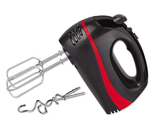 Turbo Handmixer | Handrührer | Stabmixer | Handrührgerät | Hand Mixer | Rührer | 300 Watt | 5 Stufen | Edelstahl-Knethaken | Edelstahl-Rührhaken | Turbo-Funktion | (Schwarz/Rot)