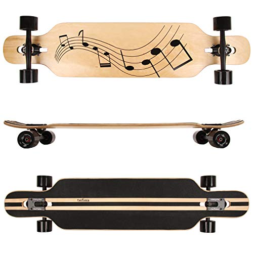 FunTomia Longboard Skateboard Drop Through Cruiser Komplettboard mit Mach1 ABEC-11 High Speed Kugellager T-Tool mit und ohne LED Rollen (Modell Freerider Ahornholz - Farbe Musik)