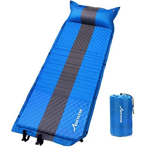 MOVTOTOP Selbstaufblasend Isomatte Camping(196 x 68 x 3 cm), Aufblasbare Luftmatratze Camping mit Kissen, Tragbare Ultraleichte Schlafmatte für Camping, Outdoor, Wandern, Strand