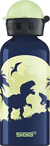 SIGG Glow Moon Dinos, Kinder Trinkflasche, 0.4 L, Auslaufsicher, BPA Frei, Aluminium, Dunkel Blau