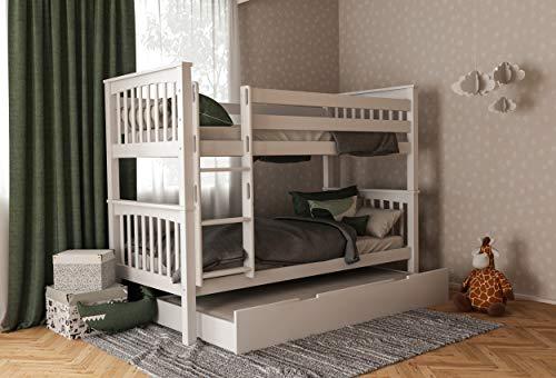 Furnneo Etagenbett für Kinder mit Bettkasten, Stockbett mit Schubladen, Doppelstockbett 90x200 inkl. Lattenrost und Absturzsicherung, Liegefläche 90 x 200 cm, 100% aus Buche (Weiß, Zusatzbett)