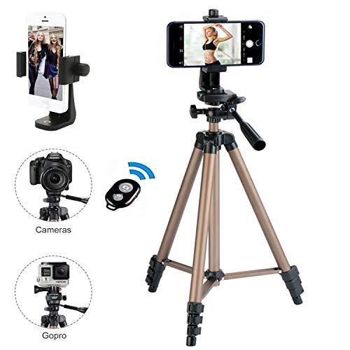 Kamera Stativ, iPhone Stativ, mit Handy Halterung und Bluetooth Fernbedienung Handy Stativ für iPhone Samsung und Kamera Mini Smartphone Stativ