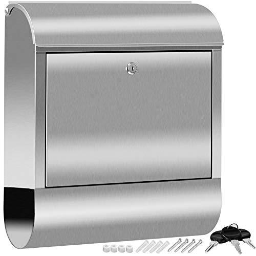 KESSER XXL Briefkasten Edelstahl mit Zeitungsfach, gebürstet, 3x Schlüssel abschließbar, Pulverbeschichtet, Wandmontage, groß Front-Einwurf: DIN C4 = DIN A4, inkl. Montagematerial, Silber