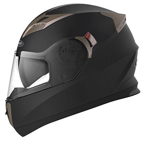 YEMA Motorradhelm Integralhelm Rollerhelm Fullface Helm YM-829 Sturzhelm ECE mit Doppelvisier Sonnenblende für Damen Herren Erwachsene-Schwarz Matt-L