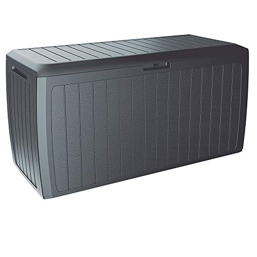 Deuba Auflagenbox Board Plus | Rollen Griffe 100 kg belastbar Smart Click | System Truhe Gartenbox Kissenbox Anthrazit