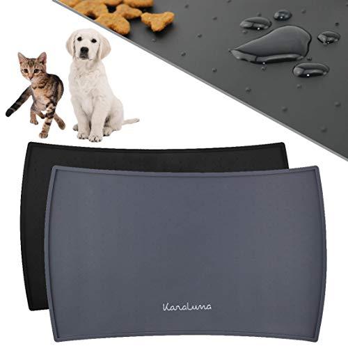 KaraLuna Napfunterlage 48x30cm für Katze und Hund I Aus hochwertigem Silikon mit hohem Rand I Wasserdicht & Rutschfest I Fressnapfunterlage Futtermatte (48x30cm, Grau)