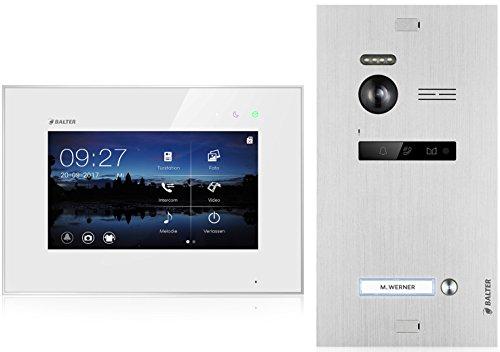 BALTER EVO Video-Türsprechanlage  Touchscreen 7 Zoll Monitor  2-Draht BUS  Türstation für 1 Familienhaus  150° Weitwinkel-Kamera