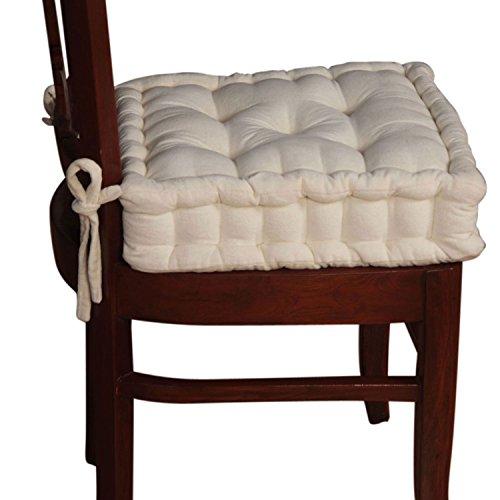 Homescapes extrahohes Sitzkissen orthopädisch mit Bändern Sitzerhöhung Aufstehhilfe ca. 40 x 40 x 10 cm, Bezug aus Baumwoll Samt, 100% Polyester Füllung, uni creme