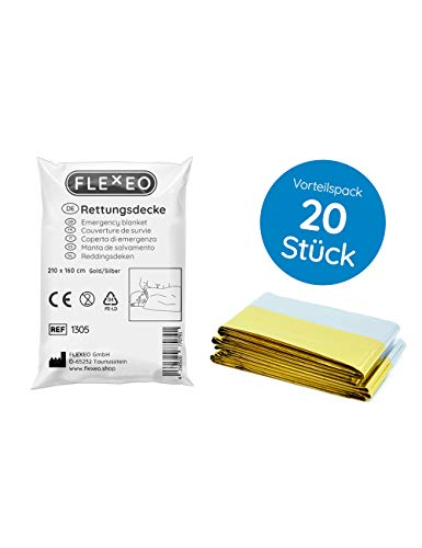 Rettungsdecke 20er Set (160 cm x 210 cm, silber/gold)