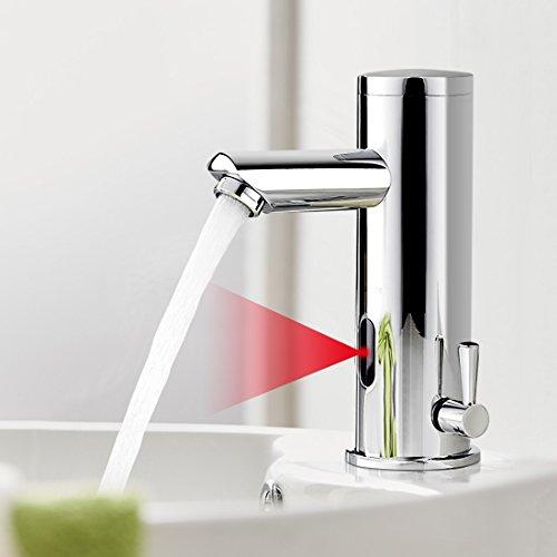 BONADE Infrarot IR Wasserhahn Automatische Waschbeckenarmatur Spüle Sensor Bad Armatur Automatik Kalt + Warmwasser Mischbatterie Einhandmischer für Badezimmer