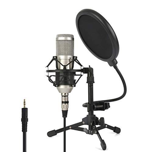 ZINGYOU Professional Studio Mikrofon, ZY-801 Desktop-Computer Niere Kondensator-Mikrofon mit Stativ für PC-Aufnahme, Rundfunk