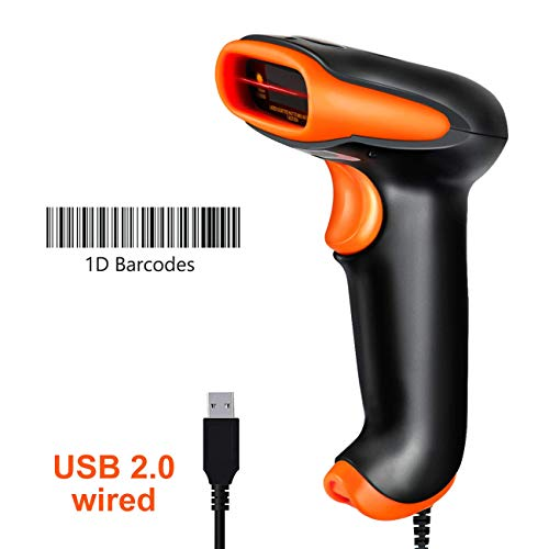 Tera Barcode Scanner USB Barcodescanner Handscanner Handheld Scanner USB Lesegerät 1D Tragbar Kabelgebunden 1D Strichcode-Scanner automatisches schnelles und präzises Scannen IP54