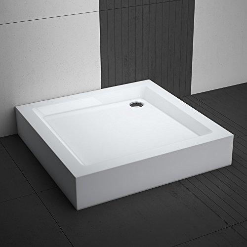 Duschwanne / Duschtasse Komplettset AQUABAD NORMA | Maße: 80x80cm quadratisch | 3x Standfüße und einer Viega Domoplex Ablaufgarnitur