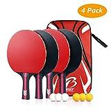 Tencoz 4Pack Tischtennis-Set, Tischtennisschläger Tischtennis Schläger Ping-Pong-Set Trainings Tischtennis Schläger Set 4 Premium Tischtennis-Schläger + 6 Tischtennis-Bälle + 1 Tragbare Tasche
