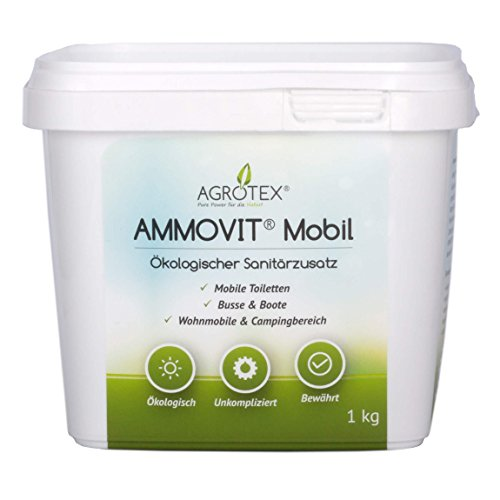 Agrotex Ammovit Mobil 1 kg, ökologischer Sanitärzusatz, Sanitärflüssigkeit, Camping & Caravan, Chemietoilette, Boot, Bus