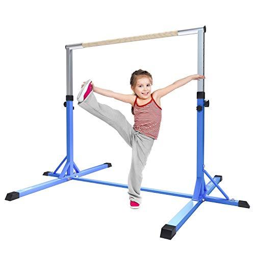 FBSPORT Gymnastik horizontale Bar Ausrüstung gymnastische Turngerät Turnreck für Kinder,Verstellbare Höhe Stabile Home Hohe Bars