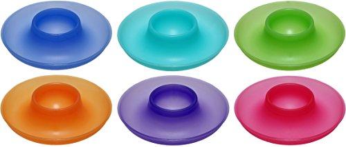 idea-station NEO Kunststoff Eier-Becher 9,5 cm 6 Stück im Set, farbig spülmaschinenfest, stapelbar, für Frühstücks-Eier Plastik-Eier-Becher Eierhalter mit Ablage für Eier-Löffel und Eier-Schale